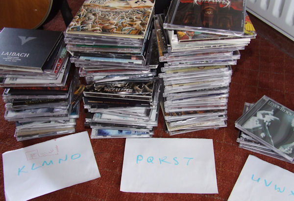 CDs sorted into alphabetical order