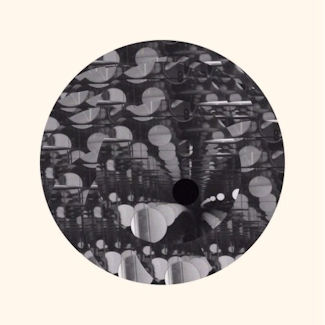 LP cover shows a black and white circular photo of abstract shapes on a cream background.